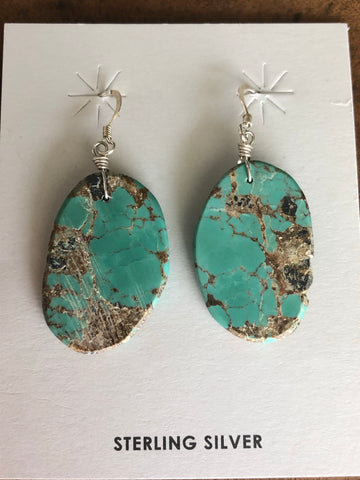 Green-Brown Turquoise Slab Earrings