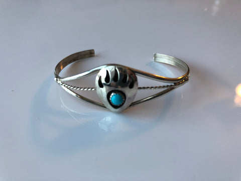 Turquoise and Sterling Silver Bear Paw Bracelet- Child size