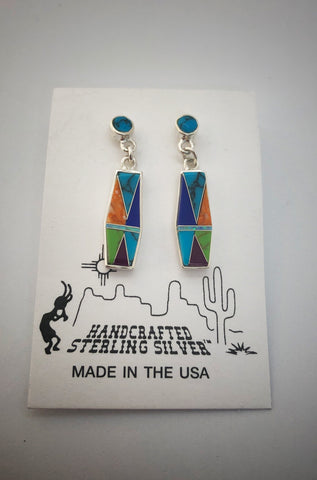 Multi-clor Turquoise Stud-Dangle Earrings