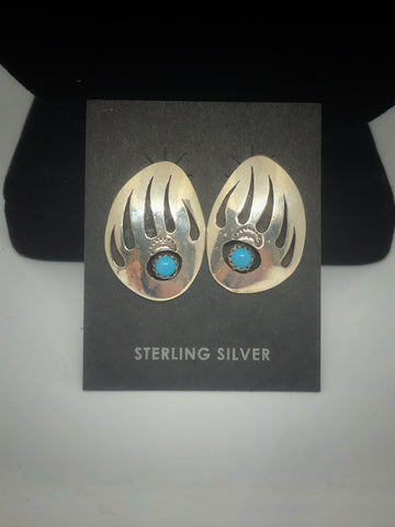 Sterling Silver with Turquoise Bear Claw Stud Earrings