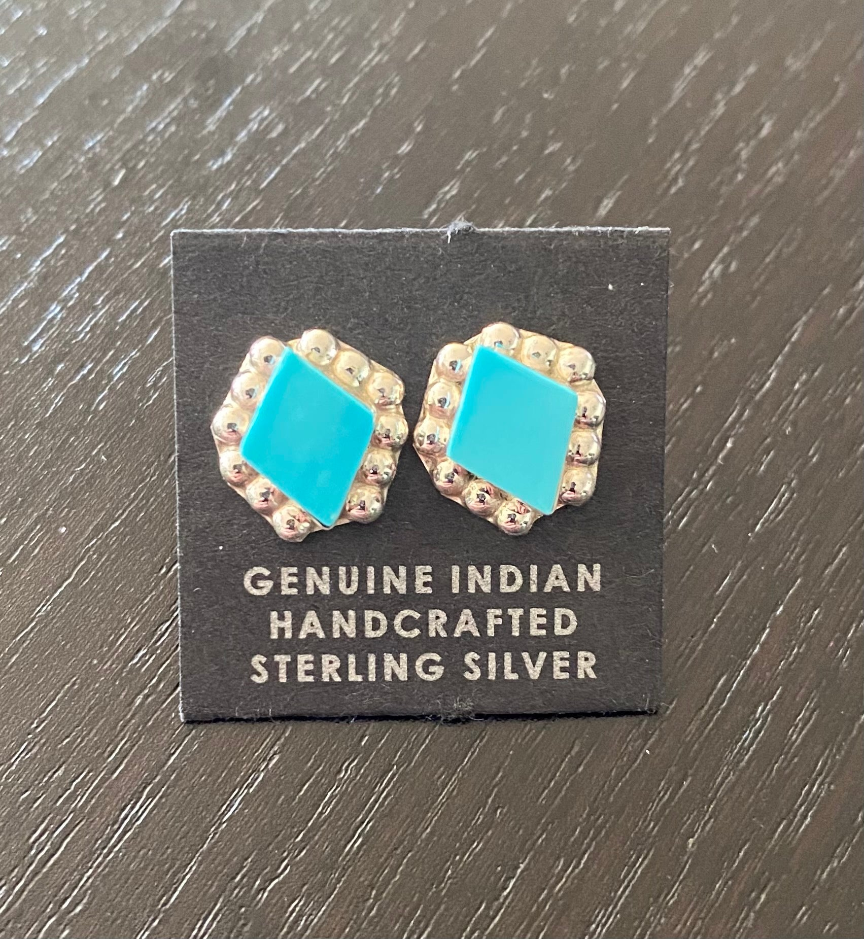 Turquoise Diamond shape stud Earrings