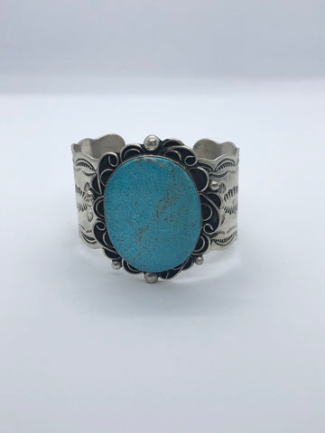 Large Turquoise Sterling Silver Cuff Bracelet