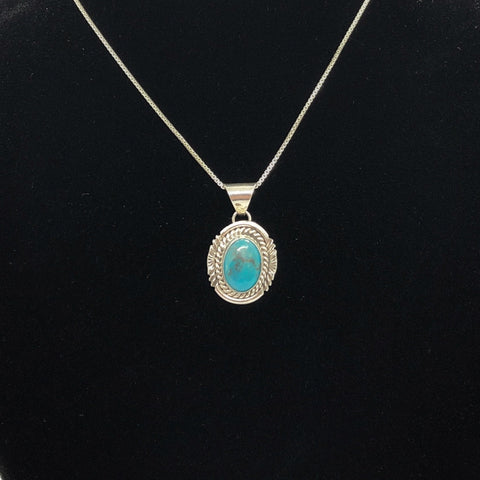 Turquoise and Sterling Silver Pendant Necklace