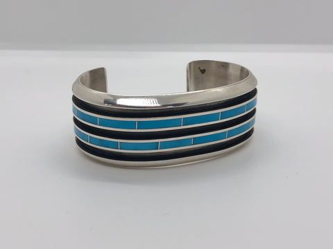 Silver with Turquoise In-lay Cuff Bracelet, Zuni-Made