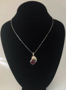 Purple Spiny Oyster Sterling Silver Flower & Feather Necklace
