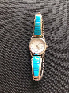Straight Inlay Turquoise Sterling Silver Watch