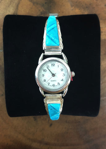 Diagonal Inlay Turquoise Sterling Silver Watch