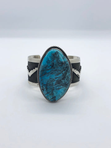 XL Oval Turquoise and Sterling Silver Cuff