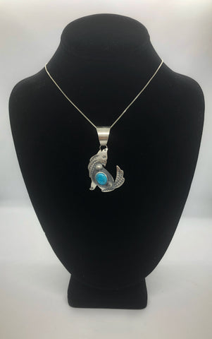 Kingman Turquoise Sterling Silver Wolf Necklace