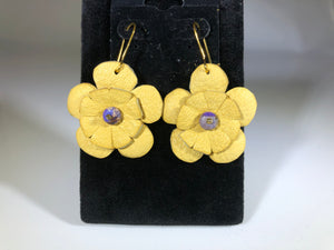 Natural Leather Flower Earrings