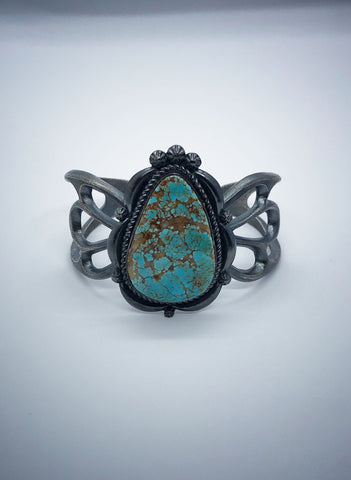 Sterling Silver and Turquoise Navajo Sandcast Cuff Bracelet