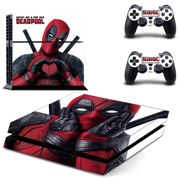 Deadpool skin for Sony PS4 Console and Two Controller