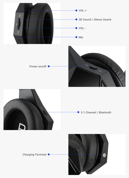 buttons on gaming headphone