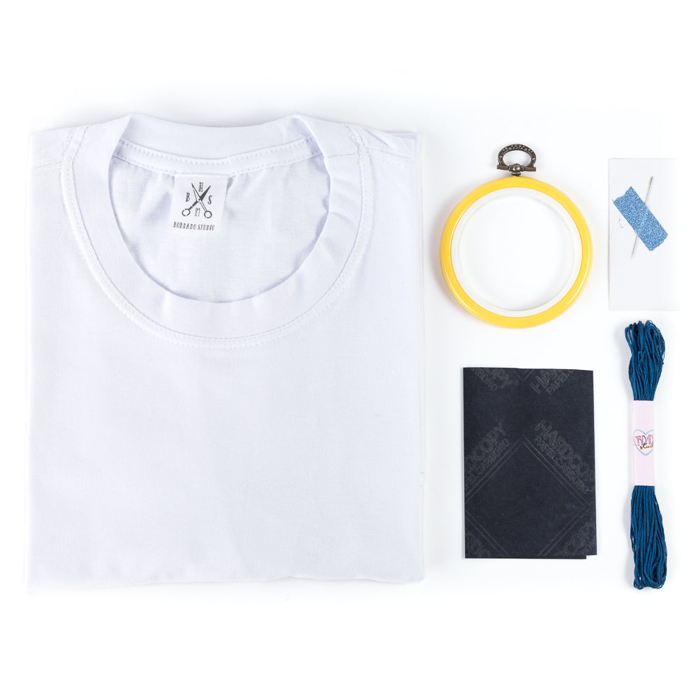 Kit para bordar Camiseta COM BOLSO - Bordado Studio