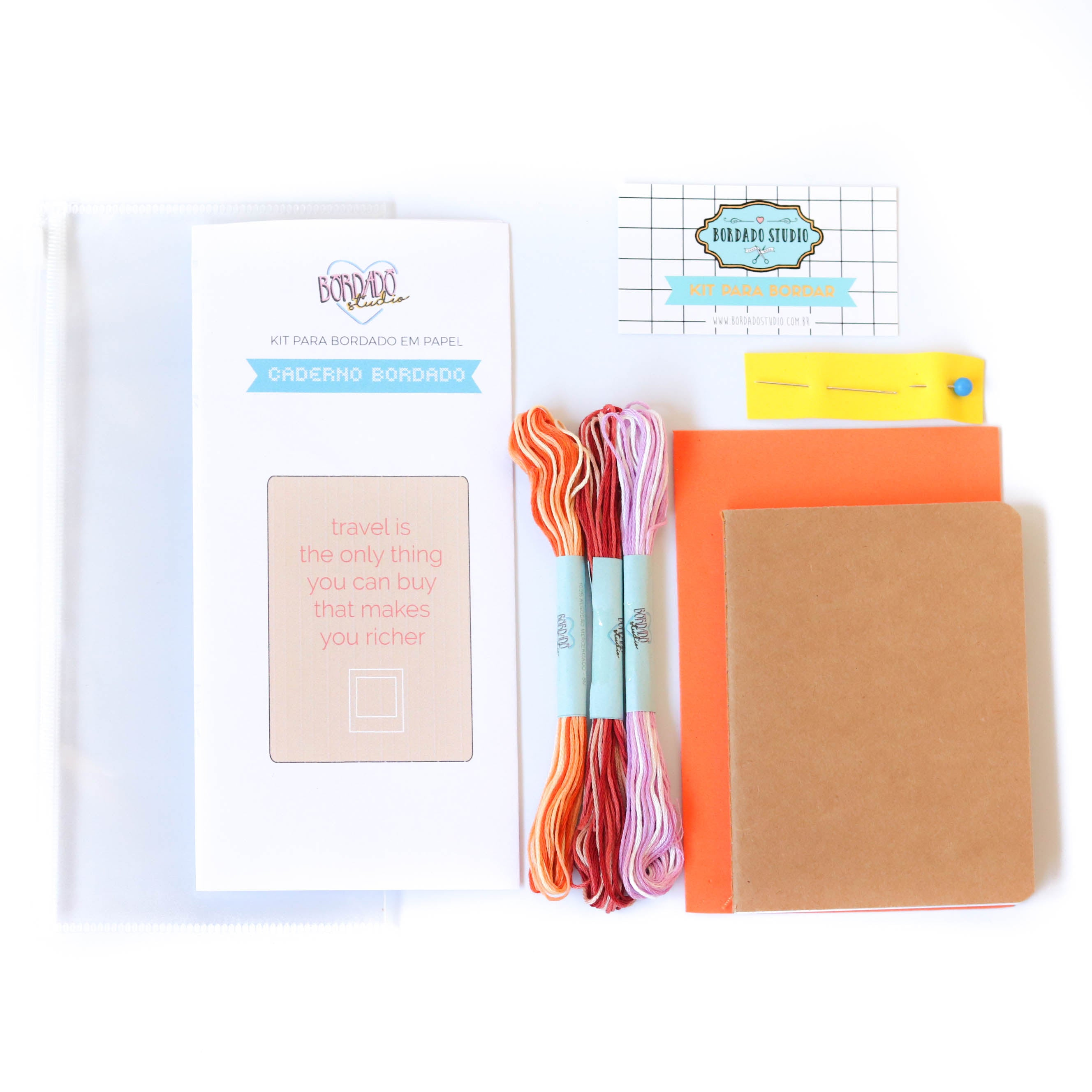 "Kit para bordar Caderno ""Travel Notes"" - NOVO! - Bordado Studio"