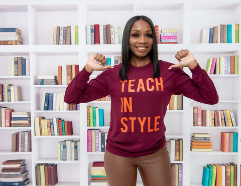 Burgundy and Orange Teach in Style Long sleeve Tee