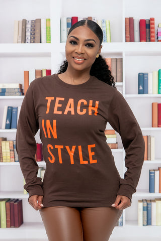 Brown and Orange Teach in Style Long sleeve Tee