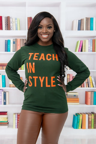 Forest Green and Orange Teach in Style Long sleeve Tee
