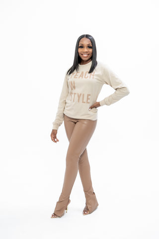 Nude and Nude Teach in Style Long sleeve Tee
