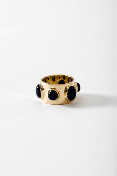 14k Gold Black Onyx Orbit Ring