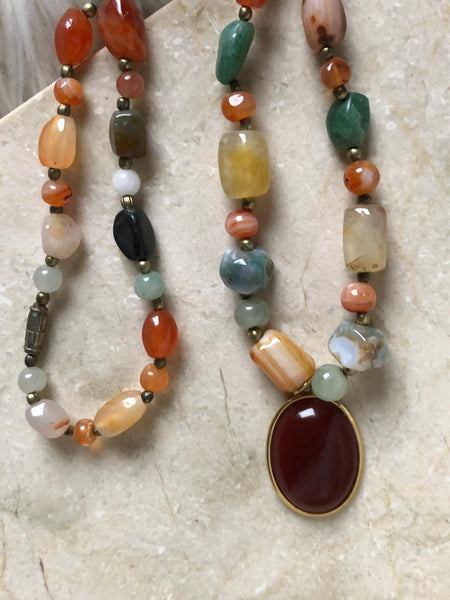 Carnelian and Gemstone Necklace