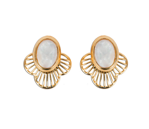 Mother of pearl earrings wear two ways with earring jacket. 14k gold plated studs