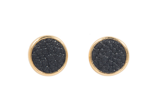 Leather studs 14k gold plated studs with goatskin leather rina studs second daughter jewelry