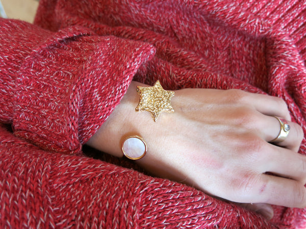 star cuff with mother of pearl and 14k gold plated real stones