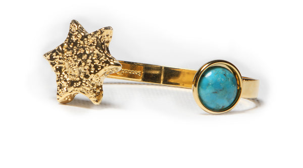 star cuff gold plated with turquoise stone modern design luxury jewelry