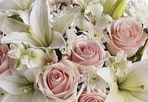 Soft pink roses and white flowers popular for funeral flowers delivered in Winnipeg