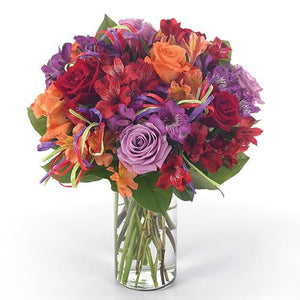 Colorful roses and alstromaria make a perfect flower arrangement for birthdays!