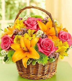 Orange lily, hot pink roses arranged in basket, Perfect to send to hospitals here in Winnipeg.