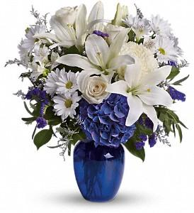 Beautiful blue flowers arranged in blue vase by Valley Flowers your Winnipeg florist.