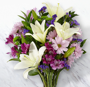 White lily with lavender daisy and purple flowers handtied and ready for delivery.