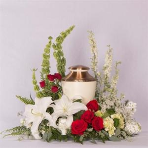 Red and White Urn Flowers