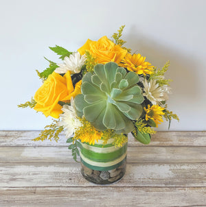 Yellow roses and succulent exclusively designed here in our Winnipeg Floral Shop