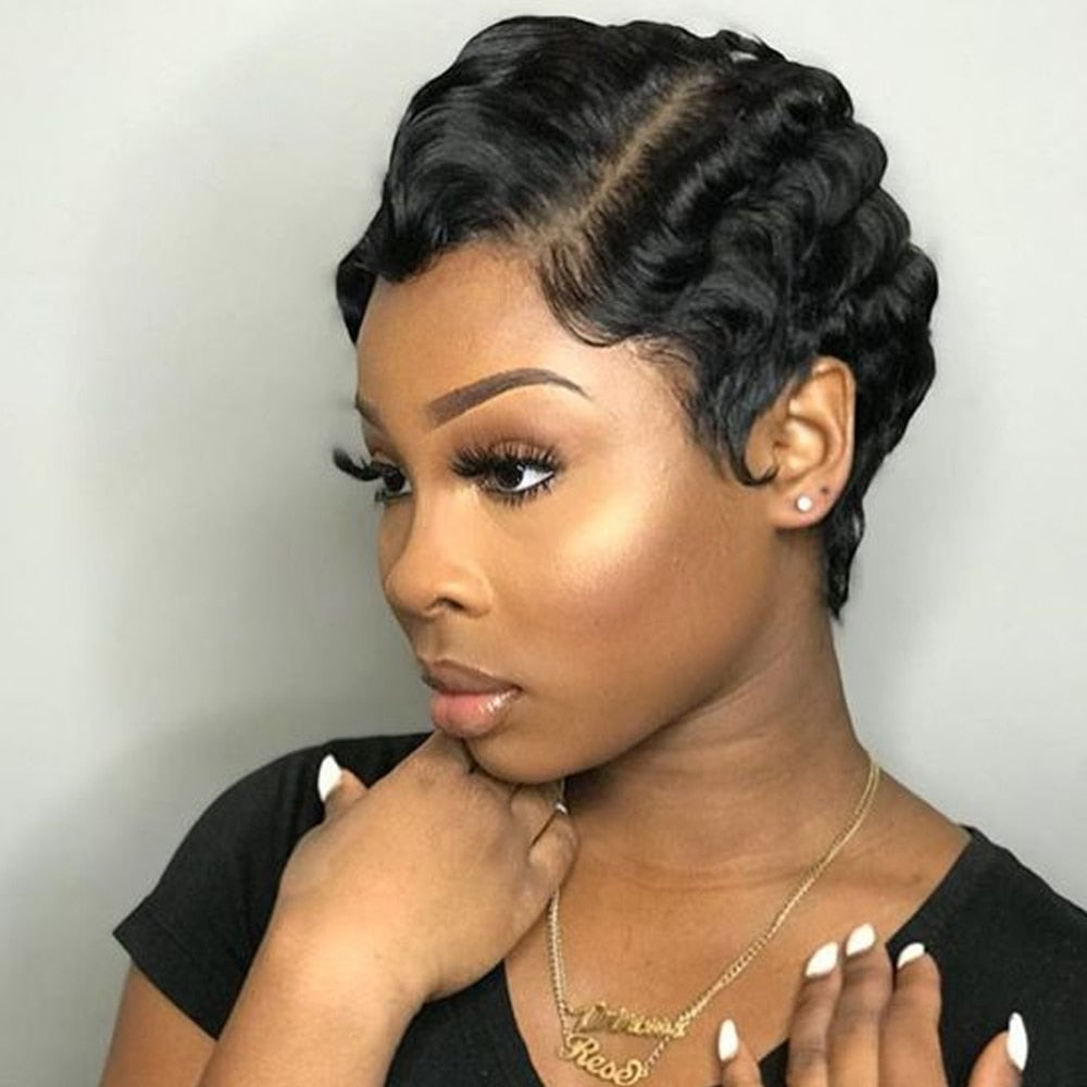 Sapphire Short Lace Human Hair Wigs For Women Brazilian Ocean Wave Remy Human Hair No Smell Lace Front Wigs For Black Women - Twisted Sistas', Inc