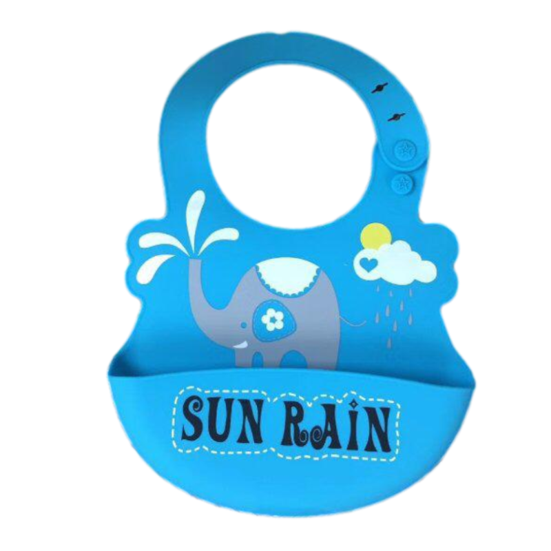 Blue Silicone Waterproof Weaning Bibs For Babies 6 Month To 3 Years