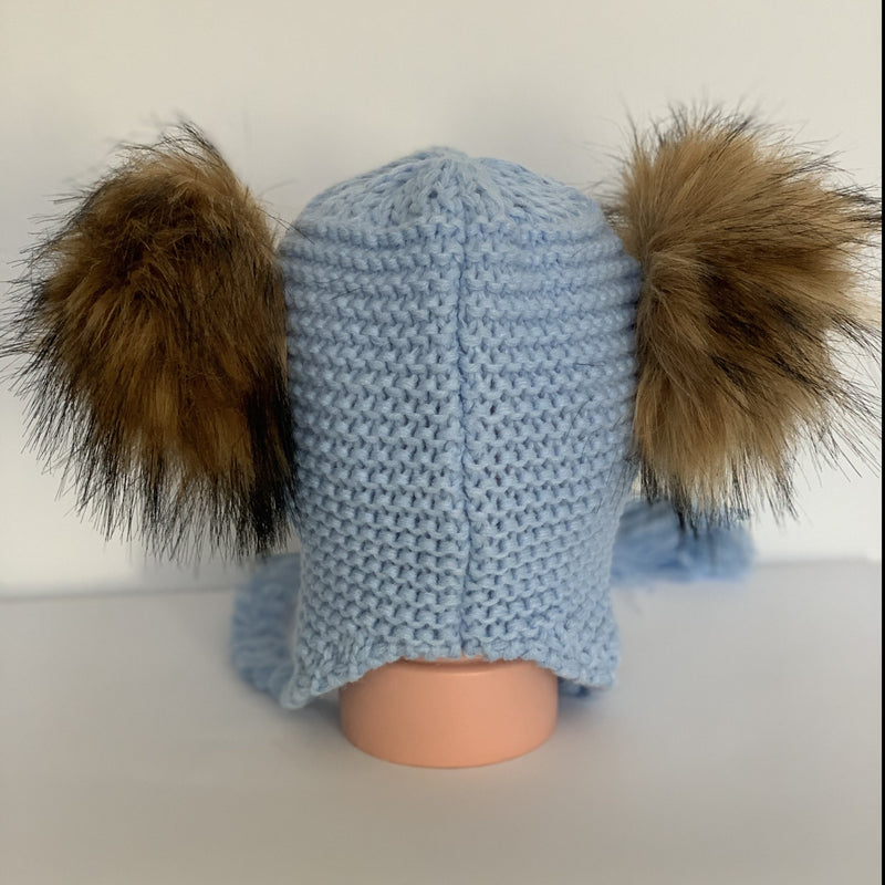 Faux Fur  Double Pom Pom Hat For 18 Moths To Four Years