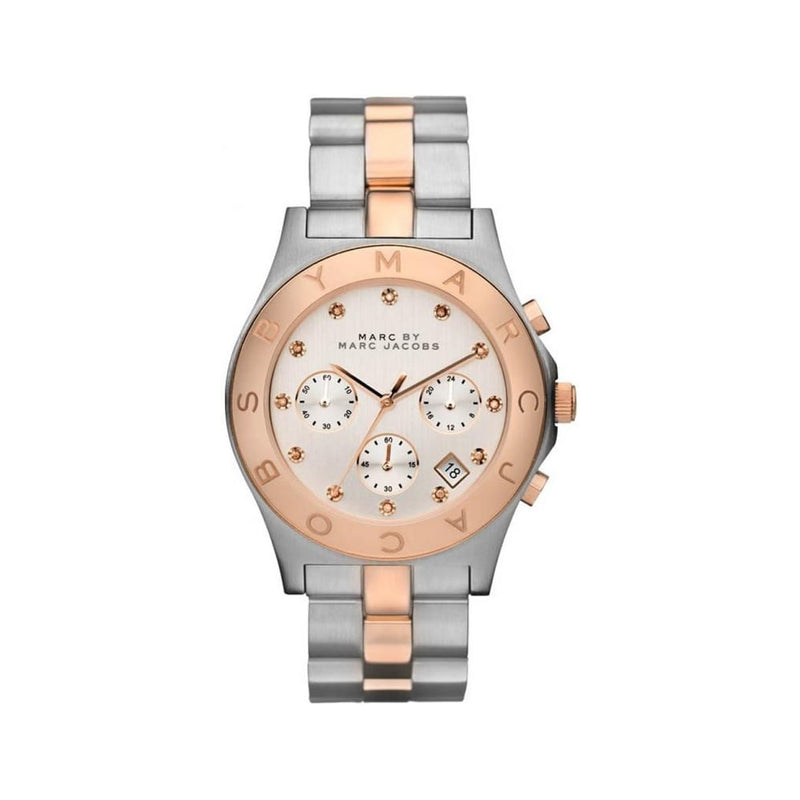 Marc Jacobs Ladies Silver And Rose Gold Watch MBM3180