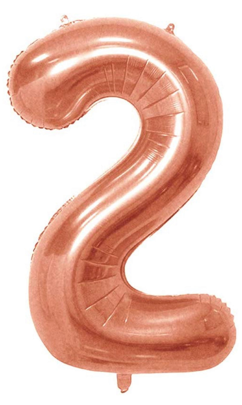 Number 2 Foil 40 inch Rose Gold Balloon