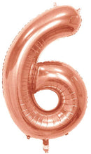 Number 6 Foil 40 inch Rose Gold Balloon