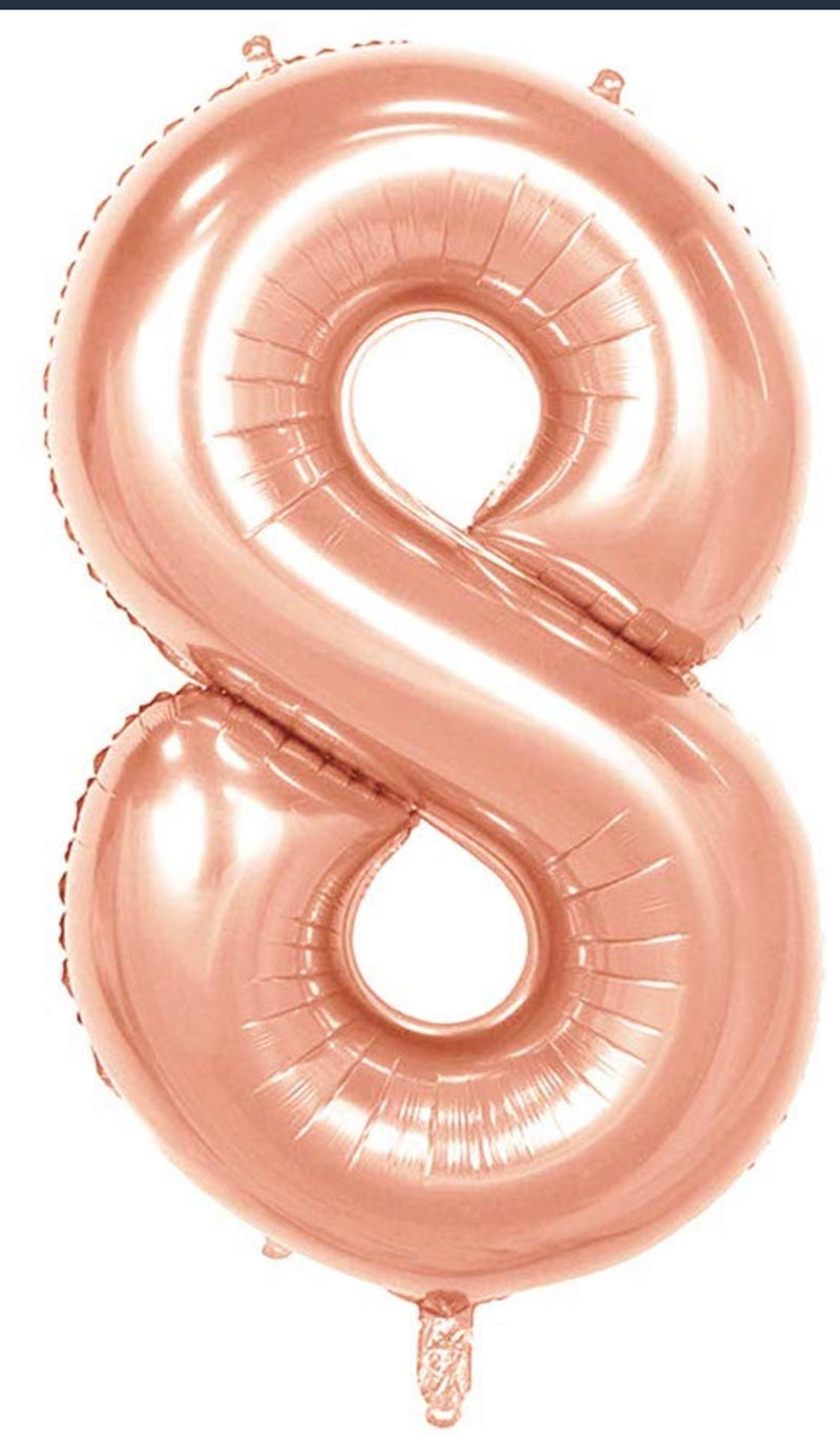 Number 8 Foil 40 inch Rose Gold Balloon