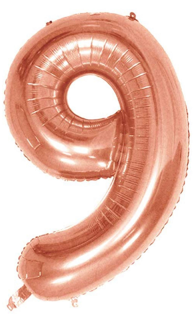 Number 9 Foil 40 inch Rose Gold Balloon
