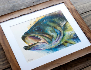 Large Mouth Bass Watercolor