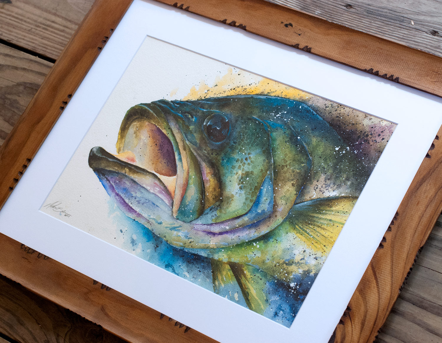 Large Mouth Bass Watercolor Nathan Brown Art