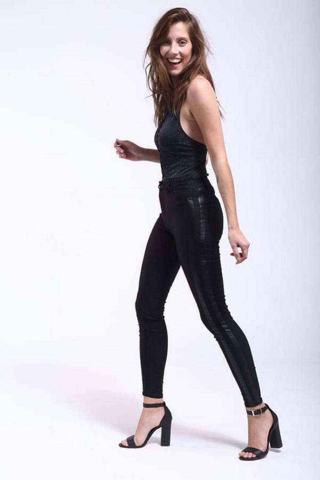 Legging Leather Black Stripe Women´s Legging