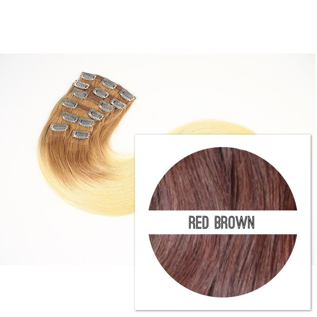 Clips 2 part Colors RED BROWN - GVA hair