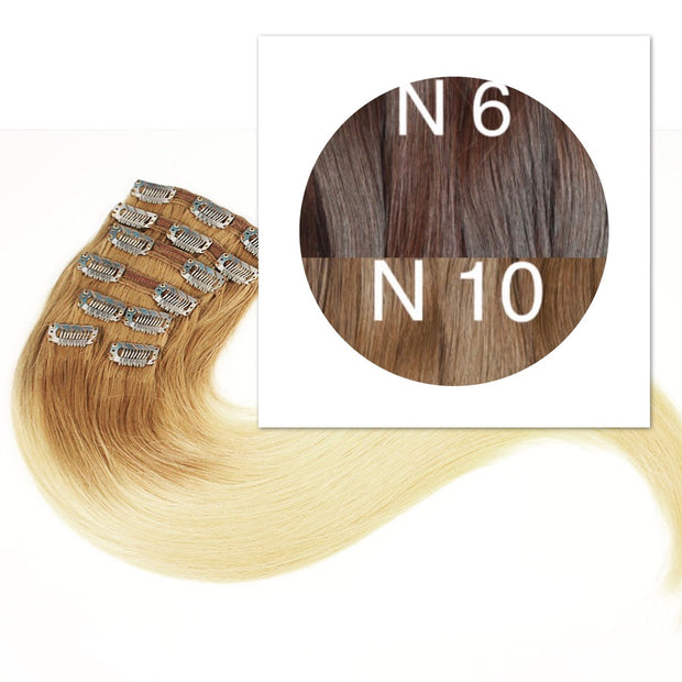 Clips and Ponytail Ambre 6 and 10 Color GVA hair - GVA hair
