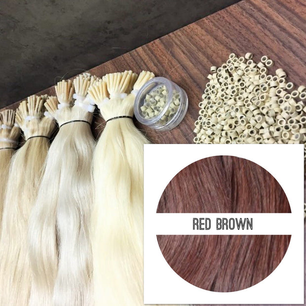 Micro links Colors RED BROWN_Retail price - GVA hair